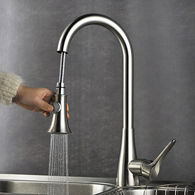 Modern Pull out pull down Inbouw Wide spary Met uitneembare spray Handdouche with Keramische ventiel Single Handle Een Hole for