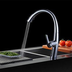 Modern Drank Middenset Waterval with Keramische ventiel Single Handle Een Hole for Chroom Keuken Kraan