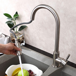 Modern Art Deco Retro Pull out pull down Bassin Regendouche Wide spary with Keramische ventiel Single Handle Een Hole for RVS ,