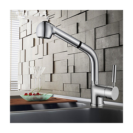 Modern Pull out pull down Inbouw Met uitneembare spray Handdouche with Keramische ventiel Single Handle Een Hole for Chroom ,