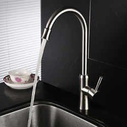 Modern Tall High Arc Middenset Roteerbaar with Keramische ventiel Single Handle Een Hole for Geborsteld Keuken Kraan