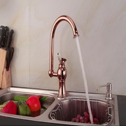 Inbouw Single Handle Een Hole with Goud Rose Keuken Kraan