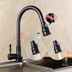 Antiek Pull out pull down Middenset Wide spary Met uitneembare spray with Keramische ventiel Single Handle Een Hole for