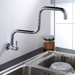 Muurbevestigd Single Handle Een Hole with Chroom Keuken Kraan