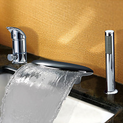 Modern Bad en douche Waterval Wide spary with Keramische ventiel Twee handgrepen drie gaten for Chroom Badkraan