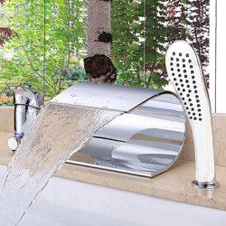 Modern Romeins bad Waterval with Keramische ventiel Single Handle drie gaten for Chroom Badkraan