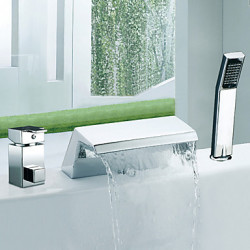 Modern Romeins bad Waterval Wide spary with Keramische ventiel Twee handgrepen drie gaten for Chroom Badkraan