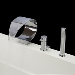 Modern Bad en douche Waterval Inclusief handdouche with Keramische ventiel Single Handle drie gaten for Chroom Badkraan