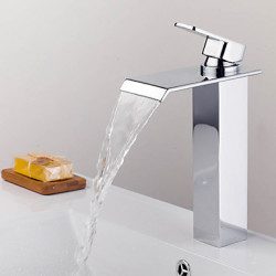 Modern Bad en douche Waterval with Keramische ventiel Single Handle Een Hole for Chroom Douchekraan Badkraan