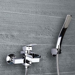 Modern Bad en douche Waterval with Keramische ventiel Single Handle twee gaten for Chroom Badkraan