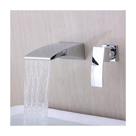 Modern Muurbevestigd Waterval with Keramische ventiel Single Handle twee gaten for Chroom Badkraan