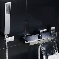 Modern Bad en douche Waterval Wide spary with Keramische ventiel Twee handgrepen twee gaten for Chroom Douchekraan Badkraan