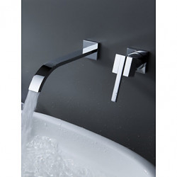 Modern Muurbevestigd Waterval Wide spary with Keramische ventiel Single Handle twee gaten for Chroom Badkraan