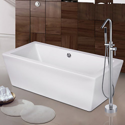 Modern Art Deco Retro Bad en douche Waterval Wide spary Staat op vloer with Keramische ventiel Single Handle Een Hole for Chroom