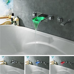 charmingwater hedendaagse chroom messing LED Color Changing waterval bad kraan met put-out handdouche (muurbevestiging)