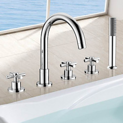 Modern Art Deco Retro Bad en douche Waterval Regendouche Wide spary Inclusief handdouche Met uitneembare spray with