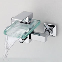 Modern Bad en douche Waterval with Messing ventiel Single Handle twee gaten for Chroom Douchekraan Badkraan