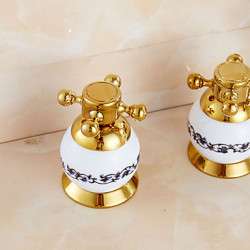 Modern Art Deco Retro Bad en douche Waterval Wide spary Handdouche with Messing ventiel Drie handgrepen Vijf Gaten for Ti-PVD