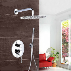Modern Muurbevestigd Waterval Regendouche Inclusief handdouche with Messing ventiel Single Handle drie gaten for Chroom