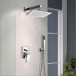 Modern Muurbevestigd Waterval Regendouche with Messing ventiel Single Handle drie gaten for Chroom Douchekraan Badkraan