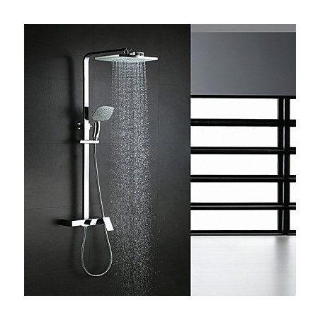 Modern Douchesysteem Waterval Regendouche Inclusief handdouche with Keramische ventiel Single Handle drie gaten for Chroom