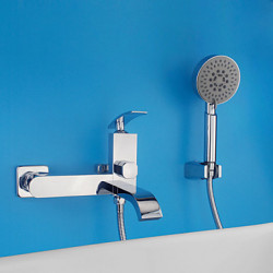 Modern Alleen douche Waterval Wide spary with Keramische ventiel Single Handle twee gaten for Chroom Douchekraan Badkraan