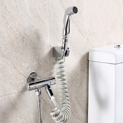 Modern Middenset Met uitneembare spray with Messing ventiel Twee Handles Een Hole for Chroom Bidet kraan