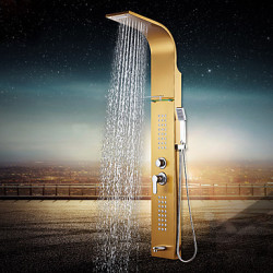Modern Douchesysteem Waterval Regendouche with Keramische ventiel Single Handle drie gaten for Ti-PVD Douchekraan