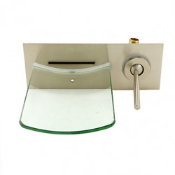 Modern Muurbevestigd Waterval with Keramische ventiel Single Handle Een Hole for Geborsteld nikkel Wastafel kraan