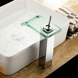 Modern Bassin Waterval with Keramische ventiel Single Handle Een Hole for Chroom Wastafel kraan
