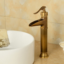 Antiek Middenset Waterval with Keramische ventiel Single Handle Een Hole for Antiek Bronzen Wastafel kraan