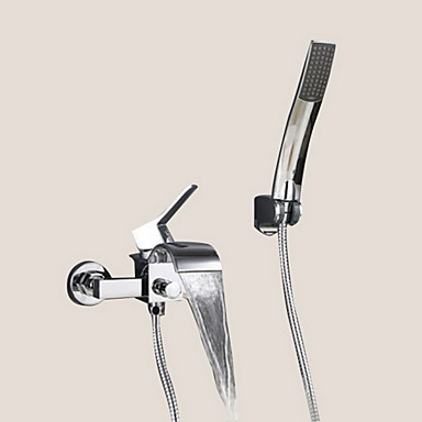 Modern Muurbevestigd Waterval with Keramische ventiel Single Handle twee gaten for Chroom Wastafel kraan