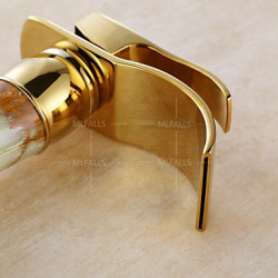 Art Deco Retro Middenset Waterval Wide spary with Keramische ventiel Single Handle Een Hole for Ti-PVD Wastafel kraan