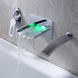 Modern Muurbevestigd LED Waterval with Keramische ventiel Single Handle drie gaten for Chroom Badkraan Wastafel kraan