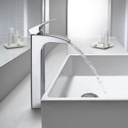 Modern Inbouw Waterval with Keramische ventiel Single Handle Een Hole for Chroom Wastafel kraan