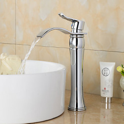 Modern Art Deco Retro Middenset Waterval Wide spary Handdouche with Keramische ventiel Single Handle twee gaten for Chroom ,