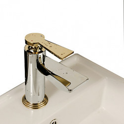 Art Deco Retro Inbouw Single Handle Een Hole in Chroom Wastafel kraan