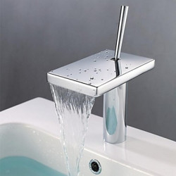 Modern 3-gats kraan Waterval with Keramische ventiel Single Handle Een Hole for Chroom Wastafel kraan