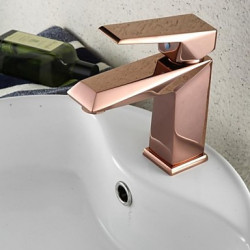 Modern Middenset Single Handle Een Hole in Goud Rose Wastafel kraan
