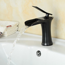 Modern Middenset Waterval with Keramische ventiel Single Handle Een Hole for Olie-Gewreven Brons Wastafel kraan