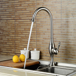 Modern Bad en douche Waterval with Keramische ventiel Single Handle Een Hole for Geborsteld nikkel Wastafel kraan