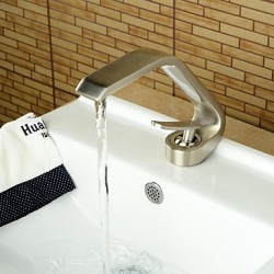 Modern Middenset Waterval with Messing ventiel Single Handle Een Hole for Geborsteld nikkel Wastafel kraan