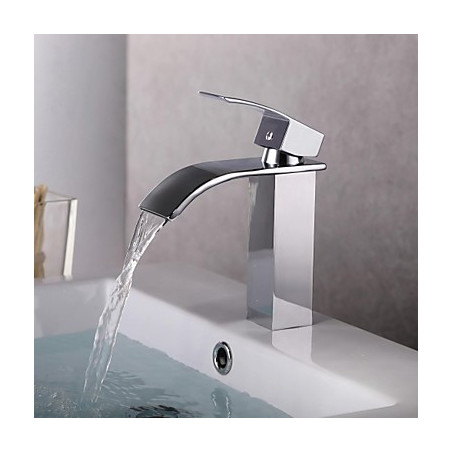 Modern Middenset Waterval with Keramische ventiel Single Handle Een Hole for Chroom Wastafel kraan